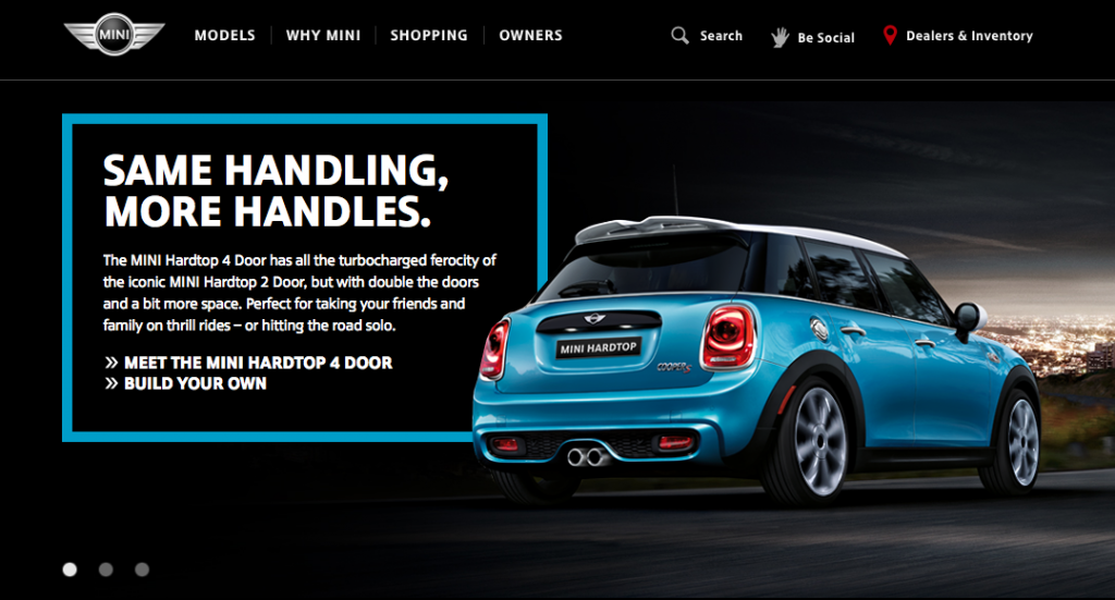 A concept from the Mini USA website homepage.